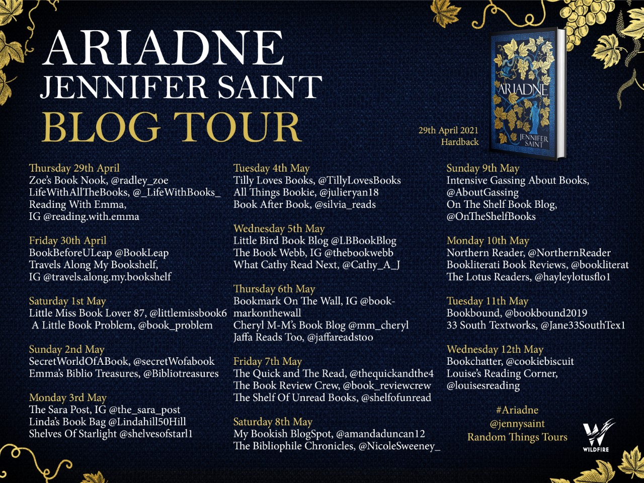Blog Tour stops for Ariadne